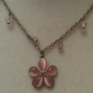 Pink flowers necklace and earrings Set